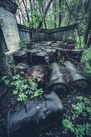 Barrels of chemicals in forest in the Chernobyl exclusion zone