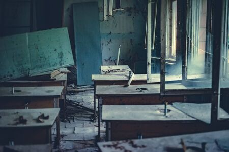 Abandoned radioactive classroom in school in Pripyat in the Chernobyl Exclusion Zone