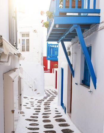 Side street between houses in Mykonos, Greece