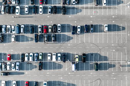 Cars on parking from above Stockfoto