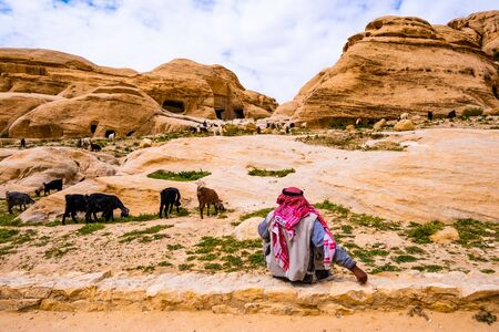 Bedouin looking after goats in valley in Jordan