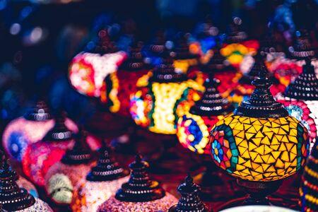 Amazingly beautiful soft light of Arabian lamps in street market Фото со стока