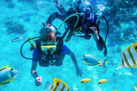 divers training underwater near coral reefs