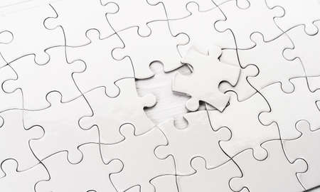 Close up view of unfinished jigsaw puzzle
