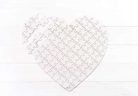 Top view of puzzle in form of heart