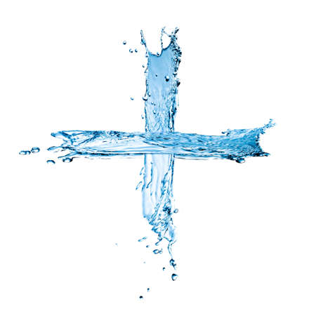 Clear cross formed by blue liquid isolated on white background