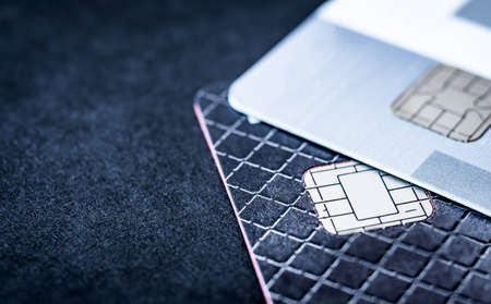 Plastic credit cards with chips, close up with copy space 版權商用圖片
