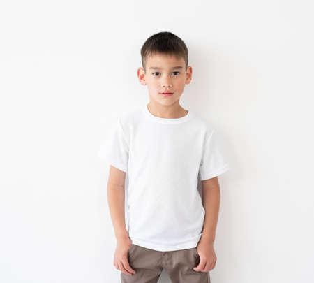 Cute little boy wearing blank white t-shirt