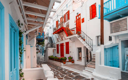 Old Traditional greek street of Mykonos with colourful houses, Greece