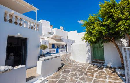 Traditional greek street at Mykonos island