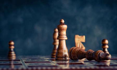 Chess pieces on a chess board Foto de archivo