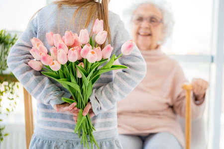Tulips bouquet is pleasant surprise for grandmother