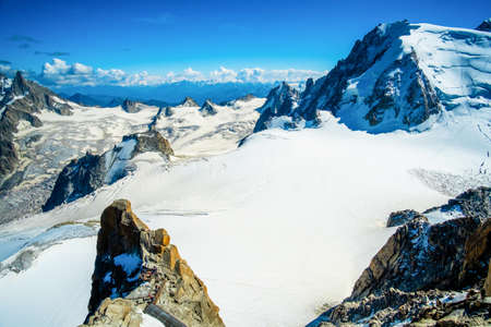 Excellent alpine mountain covered with snow, Mount Mont Blanc