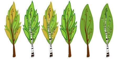 arboles de caricatura: La ilustraci�n de �rboles de la historieta