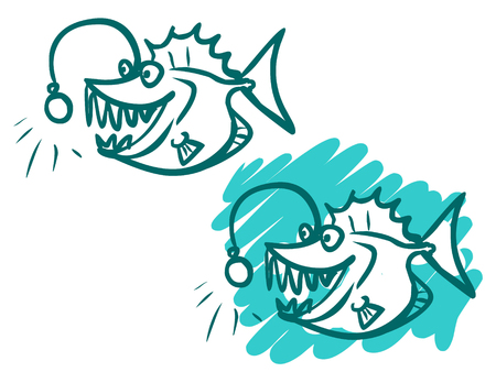 sea monster: The illustration of a funny cartoon sea monster on white and green-blue backgrounds.