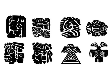 Maya patterns made on the basis of reliefs and sculptures. Human faces, birds, fish and animals. Elements of floral ornament. Black and white drawings. photo