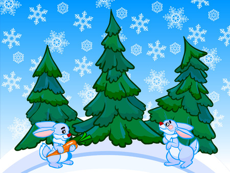 Cartoon illustration of conifer forest on white-blue drifts with two blue rabbits. One rabbit is holding in the paws orange carrot. White and blue background with lots of snowflakes.  illustration