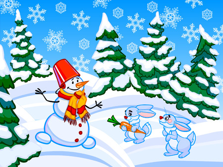Cartoon illustration of conifer forest on white-blue drifts with a snowman and two blue rabbits.  illustration