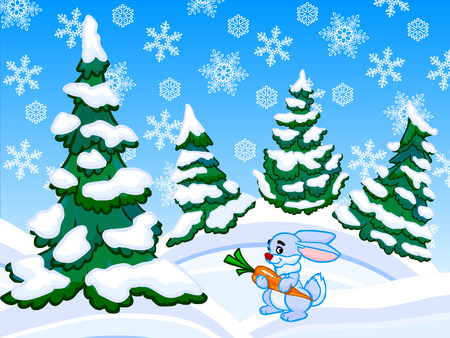 Cartoon illustration of conifer forest on white-blue drifts with a blue rabbit holding in the paws orange carrot.  illustration