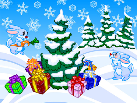 Funny winter cartoon illustration with two blue rabbits, forest and a christmas tree with a lot of present boxes  One rabbit is holding in the paws orange carrot  White and blue background with snowflakes  illustration
