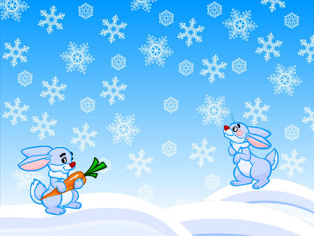 Funny winter cartoon illustration with two blue rabbits  One rabbit is holding in the paws orange carrot  White and blue background with lots of snowflakes  illustration
