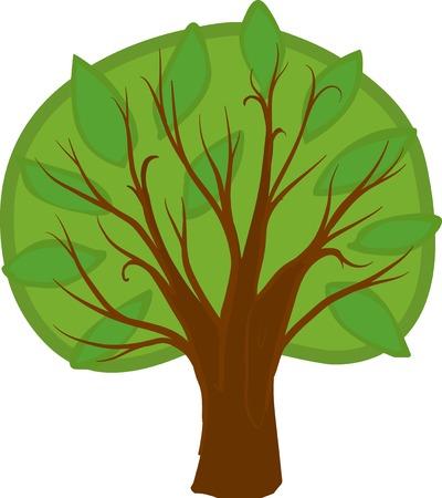 deciduous tree: Ilustraci�n de un �rbol de hoja caduca de dibujos animados con las hojas verdes claras y oscuras, tronco marr�n y ramas. Aislado.