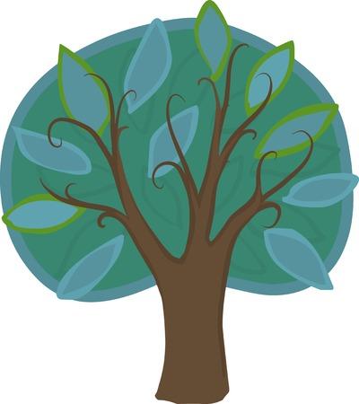 deciduous tree: Ilustraci�n de un �rbol de hoja caduca de dibujos animados con las hojas verdes y azules claros y oscuros, tronco marr�n y ramas. Aislado.