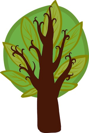 hazel tree: Illustration of a big cartoon hazel tree with light and dark leaves, brown trunk and branches. Isolated.