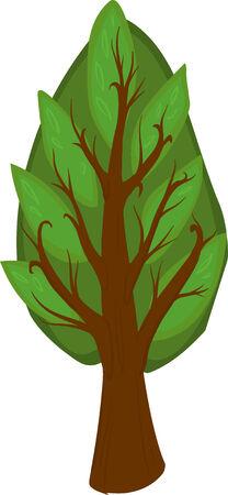 deciduous tree: Ilustraci�n de un �rbol de hoja caduca de dibujos animados con las hojas oscuras y claras, tronco marr�n y ramas. Aislado. Vectores