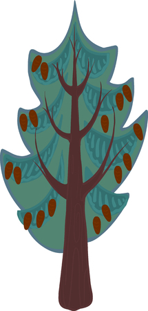 conifer: Illustration of a cartoon conifer tree with light and dark blue needles, brown trunk and branches. Isolated. Illustration