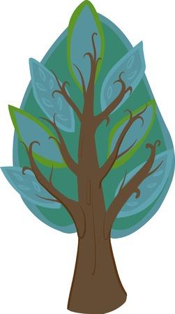 deciduous tree: Ilustraci�n de un �rbol de hoja caduca de dibujos animados con las hojas de color azul claro y oscuro, tronco marr�n y ramas. Aislado.