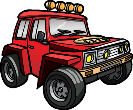 Illustration of a cartoon red jeep  Isolated  Colored