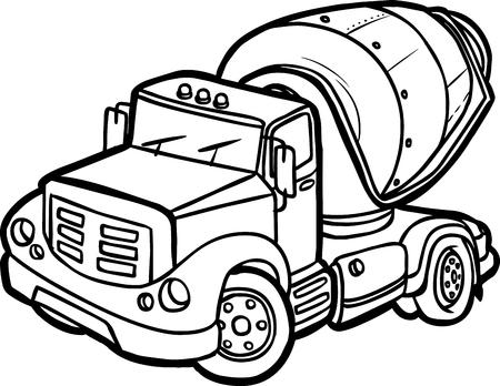 Illustration of a Cartoon concrete mixer Border