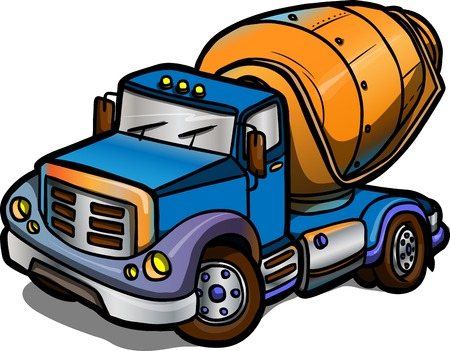 dump truck: Illustration of a Cartoon concrete mixer  Isolated  Colored Illustration