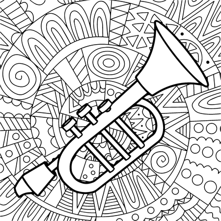 black and white vector illustration of a pipe on a background with ethnic pattern