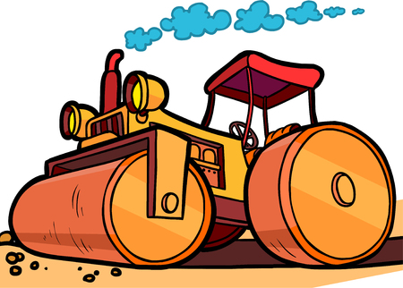 オレンジ色のアスファルト コンパクターの漫画イラスト  イラスト・ベクター素材