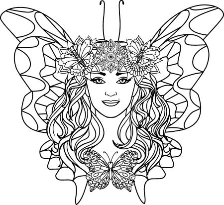 beautiful woman butterfly on a mandala background. Black and white illustration of anti-stress