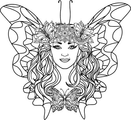 beautiful woman butterfly on a mandala background. Black and white illustration of anti-stress