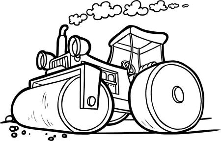 ilustración vectorial de un compactador de asfalto. contorno blanco y negro
