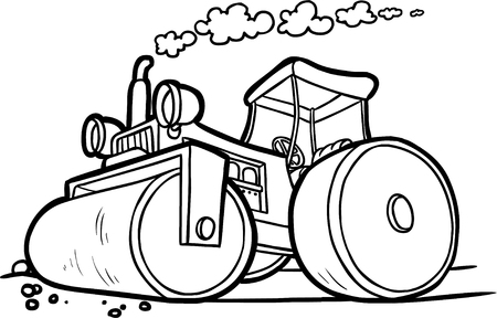 vector illustration of an asphalt compactor. black and white contour Иллюстрация