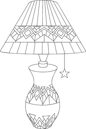 装飾的な装飾とテーブル ランプの黒と白の線形アート