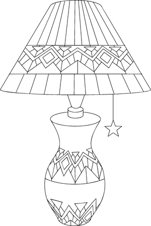 Black-and-white linear art of a table lamp with decorative ornaments Ilustrace