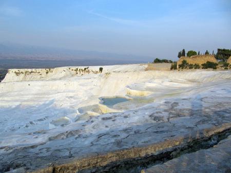 bath: Pamukkale at dawn. White calcareous natural pools