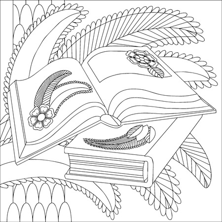 Open books on a of stylized palm leaves. Illustration