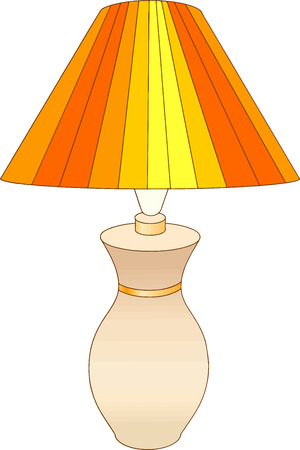 Colored art of a table lamp with yellow and orange stripes. Illusztráció