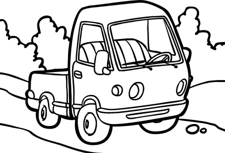 car isolated: small truck on white background. Black and white illustration in a cartoon style. Stock Photo