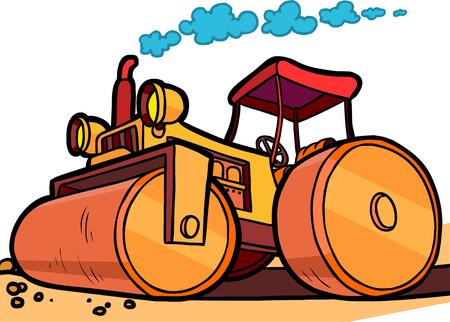 オレンジ色のアスファルト コンパクターの漫画イラスト 写真素材