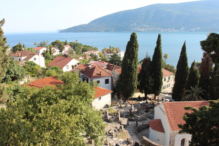 Panoramic shot of a small town in Montenegro