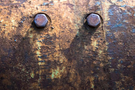 flange: Old flange on the mechanism with the rusted bolts and old paint. Stock Photo