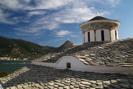 ortodox: View of Skopelos ortodox churche over the bay Stock Photo